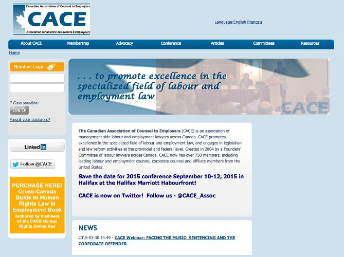 CACE home page
